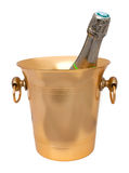 Gilt ice bucket with a champagne bottle Stock Image