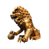 Gilt lion statue. Isolated on white Royalty Free Stock Photo