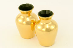 Gilt Vases. Two ceramic gilt vases from Studio Ceramics, Braunton, North Devon, UK Royalty Free Stock Images
