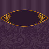 Gilt vignette on purple. Gilt vignette with roses on a purple striped background Stock Photo