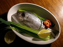 Gilted head sea bream with leek. Gilted head sea bream in a dish, ready to enter in the oven stock photo