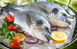 Gilthead sea breams on a grill Stock Photo