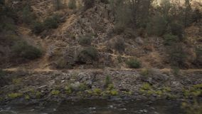 Gimbal down shot of merced river in daytime. Wide photo Royalty Free Stock Photography