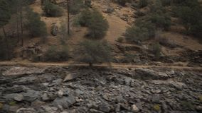 Gimbal down shot of merced river in daytime. Wide photo Royalty Free Stock Images