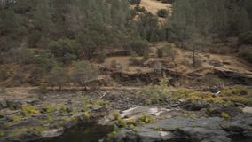 Gimbal down shot of merced river in daytime. Wide photo Royalty Free Stock Photos