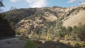 Gimbal down shot of merced river in daytime. Wide photo Royalty Free Stock Image