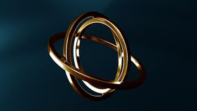 Gimbal made of gold. Balance or movement concepts. Loopable animation
