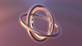 Gimbal made of gold. Balance or movement concepts. Loopable animation stock footage