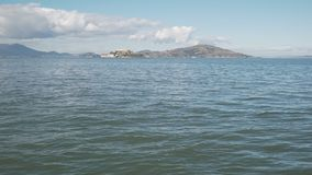 Gimbal shot of San Francisco bay from pier. Wide photo Stock Photography