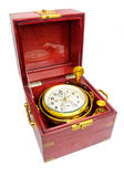 Gimbaled deck watch chronometer in original box. Marine chronometer, mounted in gimbals with a mahogany box. The movement is mounted in gimbals so that it Royalty Free Stock Images