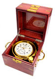 Gimbaled deck watch chronometer in original box. Marine chronometer, mounted in gimbals with a mahogany box. The movement is mounted in gimbals so that it Royalty Free Stock Image