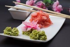 Gimger山葵和竹子棍子 免版税库存图片