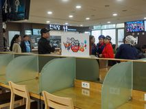 Restaurant view of Jinyeong Service Area, Toll road rest stop in Gyeongsangnam-do. Gimhae, South Korea - March 25, 2018 : Restaurant view of Jinyeong Service Royalty Free Stock Images