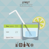 Gimlet cocktail flat style  illustration Royalty Free Stock Images