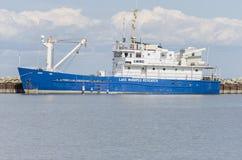 GIMLI,马尼托巴,加拿大- 2015年6月20日:温尼伯湖调查船-纳卯市 库存照片