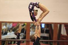 Gimnasia acrobática - Dresdner Sportclub Fotos de archivo libres de regalías