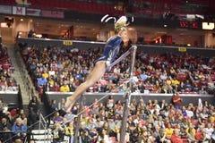 2015 gimnasia del NCAA - Virginia Occidental Imágenes de archivo libres de regalías