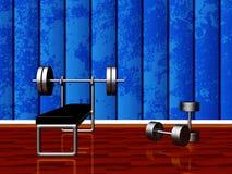 Gimnasio casero con la prensa de banco y pesas de gimnasia Foto de archivo libre de regalías