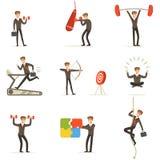 Gimnasio de Working Out In del hombre de negocios, metáfora del sistema del entrenamiento de la preparación del negocio de ejempl stock de ilustración