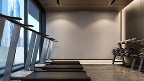 Gimnasio moderno con la representación blanca pared/3D Imágenes de archivo libres de regalías