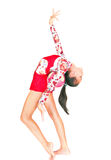 Gimnasta asiático hermoso de la muchacha con una bola Foto de archivo libre de regalías