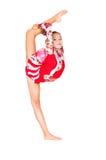 Gimnasta asiático hermoso de la muchacha con una bola Imagenes de archivo