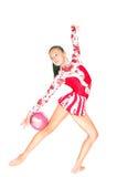 Gimnasta asiático hermoso de la muchacha con una bola Imágenes de archivo libres de regalías