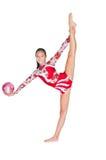 Gimnasta asiático hermoso de la muchacha con una bola Imagen de archivo libre de regalías
