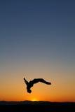 Gimnasta de la puesta del sol Foto de archivo