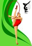 Gimnasta de sexo femenino en rojo Fotografía de archivo libre de regalías