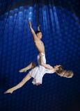 Gimnasta del aire del circo de los pares Fotografía de archivo libre de regalías