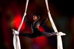 Gimnasta del aire del circo de la mujer joven Foto de archivo libre de regalías
