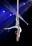 Gimnasta del aire del circo de la mujer joven Imagen de archivo