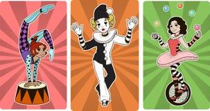 Gimnastyczka mima juggler i błazenu cyrka charaktery royalty ilustracja