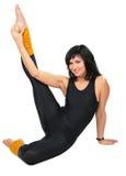 gimnastyczna czarny brunetka robi sportowi Obrazy Stock
