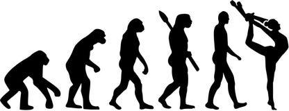 Gimnastyki ewolucja z klubami ilustracja wektor