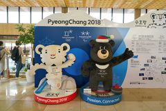 Gimpo Airport. SEOUL, SOUTH KOREA - CIRCA MAY, 2017: Soohorang and Bandabi mascots of Pyeongchang Winter Olympics at Gimpo Airport International Terminal. Gimpo Stock Images