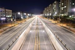 GIMPO, KOREA - APRIL 05, 2014: Night view of the stretch of the Stock Photography