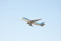 GIMPO, KOREA - JANUARY 19, 2014: airplane of Korean Air, taking Stock Photos