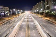 GIMPO KOREA, KWIECIEŃ, - 05, 2014: Noc widok rozciągliwość Fotografia Stock