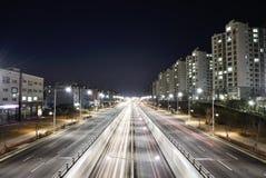 GIMPO KOREA, KWIECIEŃ, - 05, 2014: Noc widok rozciągliwość Zdjęcie Stock