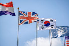GIMPO, KOREA - SEPTEMBER 05, 2014: flags of Korea and the United Stock Image