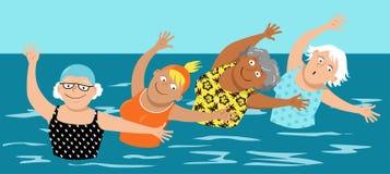 Ginástica aeróbica de água para mulheres ilustração royalty free