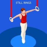 A ginástica ainda soa o grupo do ícone dos jogos do verão competição internacional GymnastSporting do campeonato isométrico de 3D Imagem de Stock