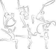 ginástica rrhythmic - esboços ajustados Foto de Stock
