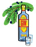 Gin. Bottle of Gin with juniper branch Royalty Free Stock Images