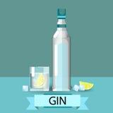 Gin Bottle Glass Lemon Alcohol-Getränk-Ikone flach stock abbildung