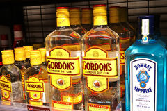 Gin. Bottles of dry gin sold in a liquor store stock photo