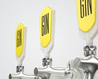 Gin Draught Spigot Row. A row of three slick modern white and chrome draught gin taps on an isolated white studio background with copy space - 3D render Stock Images
