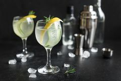 Gin fizz cocktail. With lemon, cucumber, rosemary and ice. Gin tonic or gimlet on black background, copy space royalty free stock images